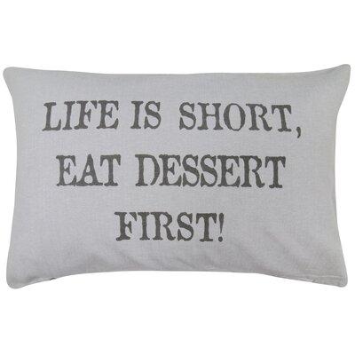 Vintage House Dessert First Cotton Lumbar Pillow Color: Gray
