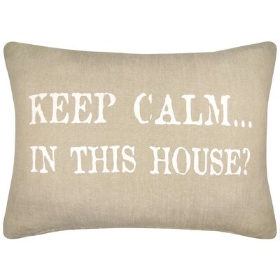 Vintage House Keep Calm in This House Cotton Lumbar Pillow