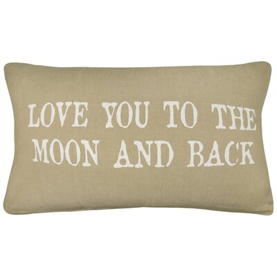 Vintage House Love You to the Moon Cotton Lumbar Pillow Color: Linen/White
