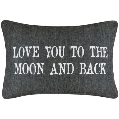 Vintage House Love You to the Moon Cotton Lumbar Pillow Color: Black/Chambray