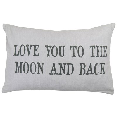Vintage House Love You to the Moon Cotton Lumbar Pillow Color: Antique Silver
