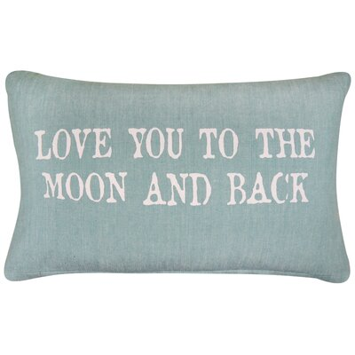 Vintage House Love You to the Moon Cotton Lumbar Pillow Color: Spearmint
