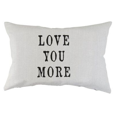 Vintage House Love You More Cotton Lumbar Pillow Color: Black