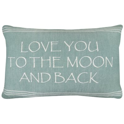 Vintage House Love You to Moon and Back Cotton Lumbar Pillow Color: Spearmint/White