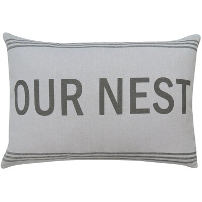 Vintage House Our Nest Cotton Lumbar Pillow Color: Gray