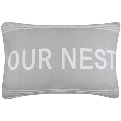 Vintage House Our Nest Cotton Lumbar Pillow Color: Gray/White