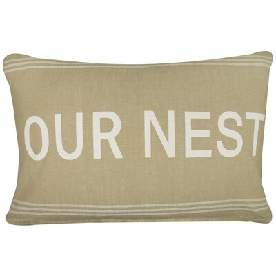 Vintage House Our Nest Cotton Lumbar Pillow Color: Linen/White