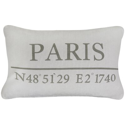 Vintage House Paris Latitude Cotton Lumbar Pillow Color: Gray