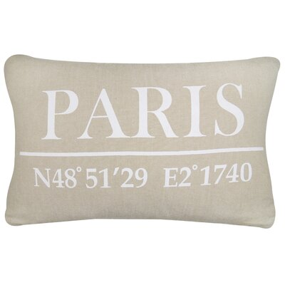 Vintage House Paris Latitude Cotton Lumbar Pillow Color: Linen/White