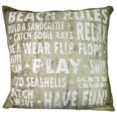 Vintage House Beach Rules Cotton Throw Pillow Color: Linen
