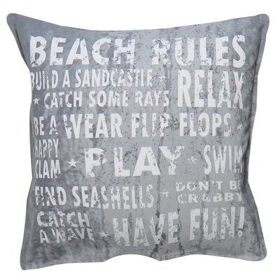 Vintage House Beach Rules Cotton Throw Pillow Color: Silver