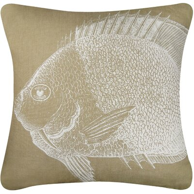 Vintage House Fish Cotton Throw Pillow Color: Linen