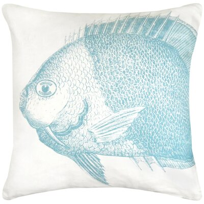Vintage House Fish Cotton Throw Pillow Color: Aquamarine