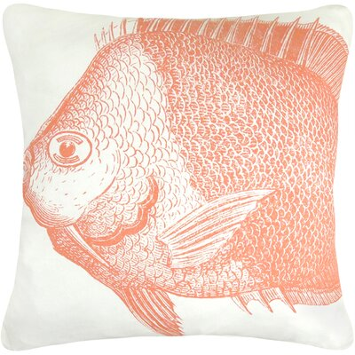 Vintage House Fish Cotton Throw Pillow Color: Coral