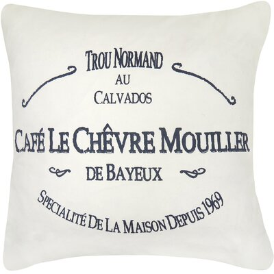 Cafe Le Chevre Printed Decorative 100% Cotton Throw Pillow