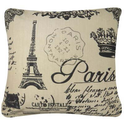 Paris Collage Printed Decorative 100% Cotton Throw Pillow Color: Linen