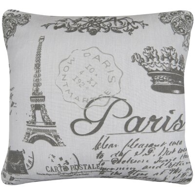 Paris Collage Printed Decorative 100% Cotton Throw Pillow Color: Gray