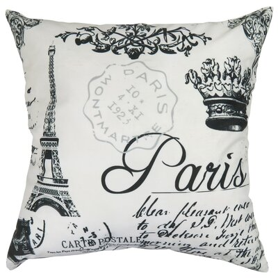 Paris Collage Printed Decorative 100% Cotton Throw Pillow Color: White/Black