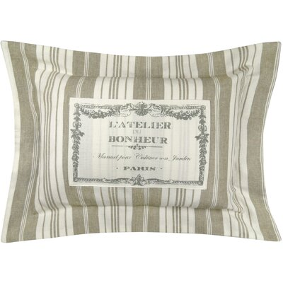 Bonheur Flanged Printed Decorative 100% Cotton Lumbar Pillow Color: Linen