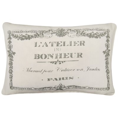LAtelier Printed Decorative 100% Cotton Lumbar Pillow