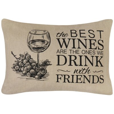 Best Wines Printed Decorative 100% Cotton Lumbar Pillow