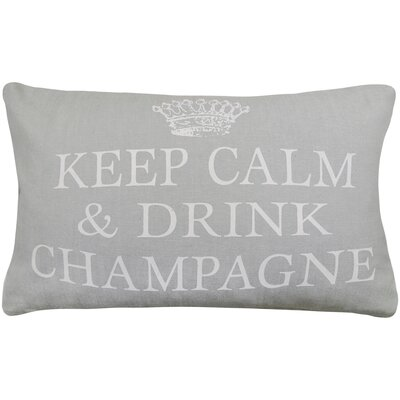 Keep Calm Drink Champagne Printed Decorative 100% Cotton Lumbar Pillow