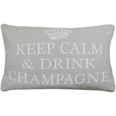 Keep Calm Drink Champagne Printed Decorative 100% Cotton Lumbar Pillow