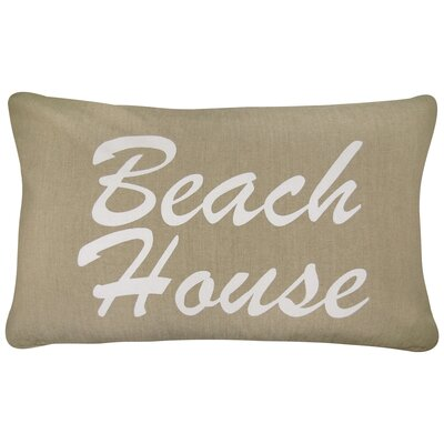 Beach House Printed Decorative 100% Cotton Lumbar Pillow Color: Linen/White