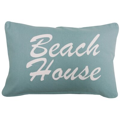 Beach House Printed Decorative 100% Cotton Lumbar Pillow Color: White/Aqua