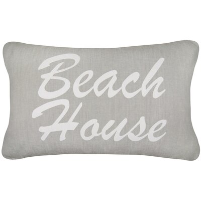 Beach House Printed Decorative 100% Cotton Lumbar Pillow Color: Gray/White