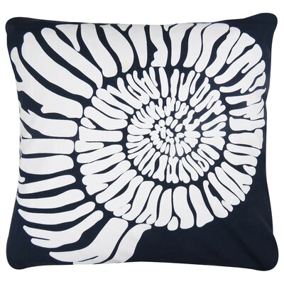 Shell Printed Decorative 100% Cotton Throw Pillow Color: Navy/White