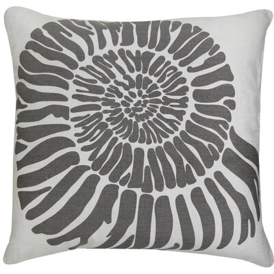 Shell Printed Decorative 100% Cotton Throw Pillow Color: Gray
