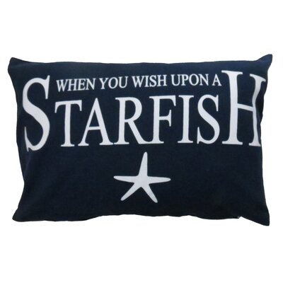Wish Upon a Starfish Printed Decorative 100% Cotton Lumbar Pillow Color: Indigo
