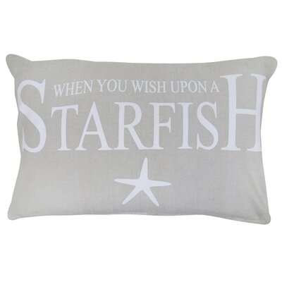Wish Upon a Starfish Printed Decorative 100% Cotton Lumbar Pillow Color: Gray/White