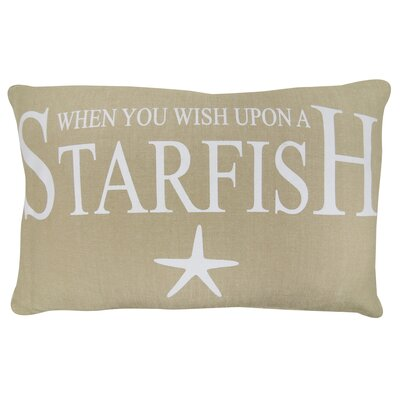 Wish Upon a Starfish Printed Decorative 100% Cotton Lumbar Pillow Color: Linen