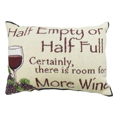 Half Empty Tapestry Decorative Lumbar Pillow