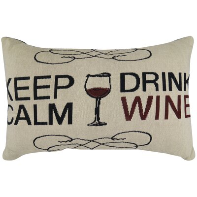Keep Calm Drink Wine Tapestry Decorative Lumbar Pillow
