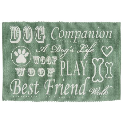 PB Paws & Co. Dog Companion Cotton Pet Mat Size: 24 W x 16 D, Color: Smoke/Green