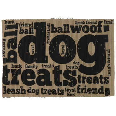 PB Paws & Co. Family Treats Cotton Pet Mat Color: Linen/Black, Size: 30 W x 20 D