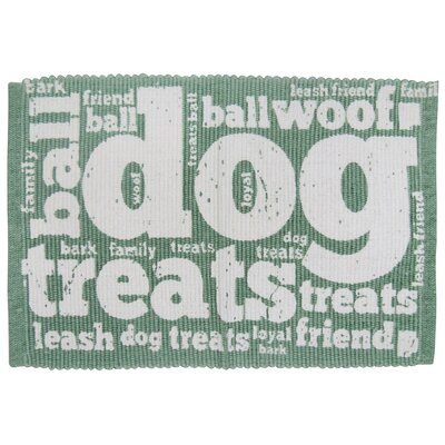PB Paws & Co. Family Treats Cotton Pet Mat Size: 24 W x 16 D, Color: Smoke/Green