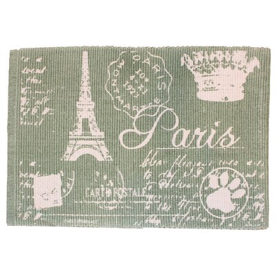 PB Paws & Co. Paris Collage Printed Pet Mat Size: 19 W x 13 D