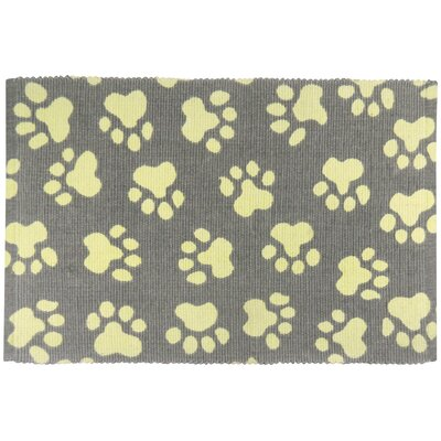 PB Paws & Co. World Paws Cotton Pet Mat Size: 19 W x 13 D, Color: Grey/Maize