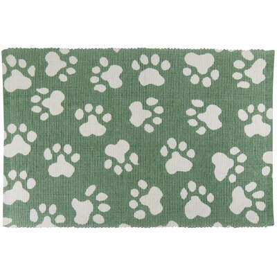 PB Paws & Co. World Paws Cotton Pet Mat Size: 19 W x 13 D, Color: Smoke/Green