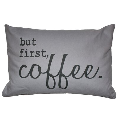 Florentine First Coffee Printed Decorative 100% Cotton Lumbar Pillow
