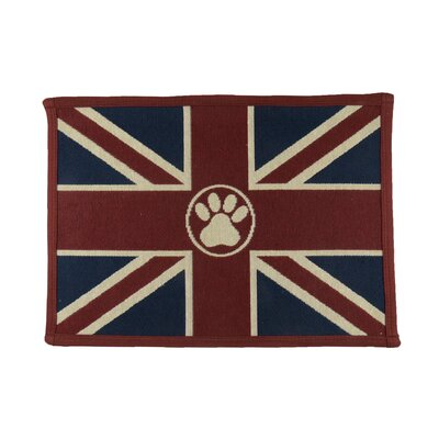 Union Jack Paw Tapestry Pet Mat Color: Cinnabar