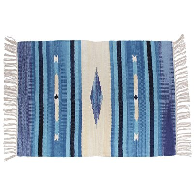 Hutcherson Hand-Woven Cotton Denim Area Rug Rug Size: 23 x 39
