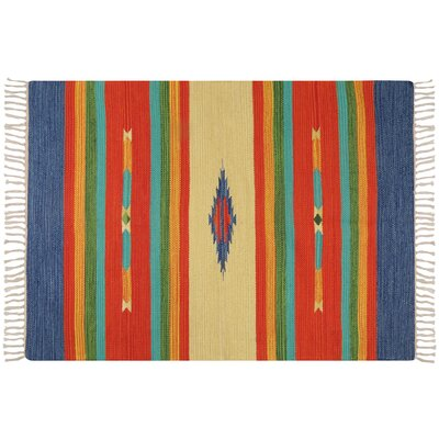 Hutcherson Hand-Woven Cotton Red/Blue Area Rug Rug Size: 23 x 39