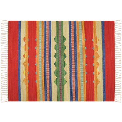 Hutcherson Hand-Woven Cotton Red/Green Area Rug Rug Size: 23 x 39