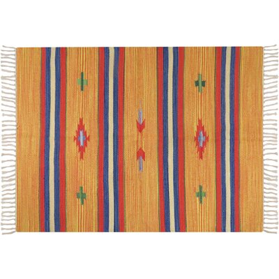 Hutcherson Hand-Woven Cotton Orange/Blue Area Rug Rug Size: 23 x 39
