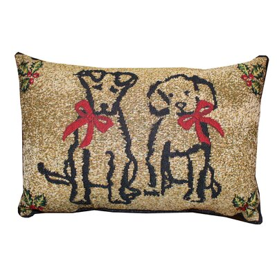 Vintage House Puppy Present Lumbar Pillow